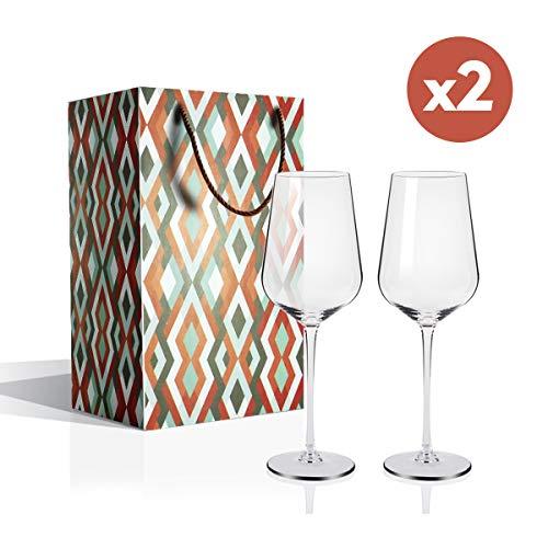 Copas de Vino, Juego de 2 Copas de Vino Tinto(Capacidad: 50.5 cl), Copas de Vino Blanco con un Tallo Largo para una cumpleaños, Aniversarios, Navidad 505ML