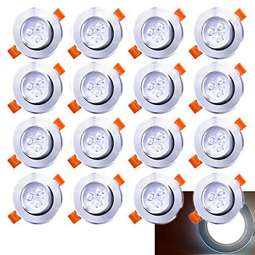 Hengda 20x LED Einbaustrahler Einbau-Spots Schwenkbar 3W Leuchtmittel Decken-Leuchte Einbaulampe Kaltweiß Deckeneinbauleuchte Spots 230V