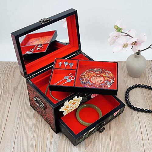 HAIHF Chinese sieradendoos, met de hand beschilderd houten pluche lakken garen sieradendoosje met bloemmotief Deksel Ontwerp bruiloftscadeau met slot massief hout opbergdoos