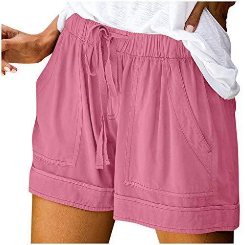 SHOBDW Pantalones Cortos elásticos de la Playa de la impresión de la Raya de Las Mujeres del Verano de la Cintura Alta Pantalones Cortos Flojos de la Playa del Dril de algodón (XL, Gris-3)