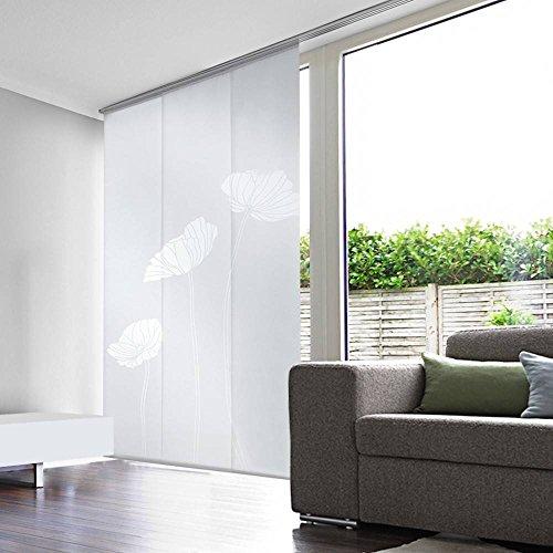 Madecostore – Juego de 3 Paneles japoneses, visillos, con Amapolas – Blancos – 50 x 250 cm (Longitud x Altura)