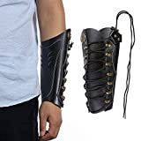Huntingdoor Archery Arm Guard Armguards Leather Arm Protector Hunting Shooting Arrow Bow Gear, Pro Force Forearm Guard, Laces Wristband Arm Guards Gauntlet Cuff Medieval Bracers(2-Black)