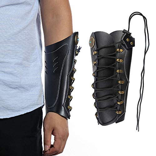 Huntingdoor Arm Guard Archery Armguards Leather Arm Protector Hunting Shooting Arrow Bow Gear, Pro Force Forearm Guard, Laces Wristband Arm Guards Gauntlet Cuff Medieval Bracers(2-Black)