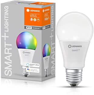 LEDVANCE Lámpara LED inteligente con tecnología WiFi, enchufe E27, regulable, color de luz cambiante(2700-6500K), colores RGB cambiables, reemplazo de 75W, SMART+ WiFi Classic Multicolour,paquete de 1