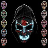 KiraKira Máscara LED Halloween, Halloween LED Máscaras Adultos LED Mask para la Fiesta...