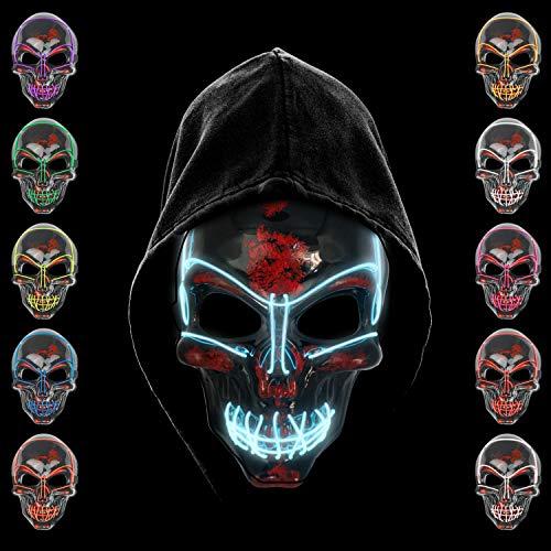 KiraKira Máscara LED Halloween, Halloween LED Máscaras Adultos LED Mask para la Fiesta de Disfraces, Máscara Disfraz Luminosa Craneo Esqueleto (Ice Blue)
