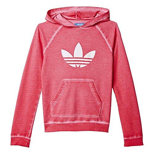 Adidas Girls J Tery bluza z kapturem - różowa róża / biała, rozmiar 122