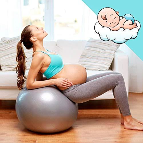 Desconocido Amazean Pelota de Pilates Embarazadas, Fitball, Ejercicio, Balón de Gimnasia Anti-Burst para Parto y Embarazo,Yoga, Fitness Bola con Bomba de hinchado. (Plata)