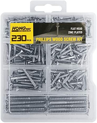 HongWay 230 PCS Screw Kit Flat Head Phillips Wood Screw Assortment Kit Zinc Plated Steel Self product image