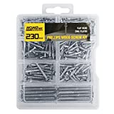 HongWay 230pcs Screw Set, Flat Head Phillips Wood Screw Assortment Kit, Zinc Plated Steel, Self Tapping Screws Kit in 7 Sizes for Drywall and Wood