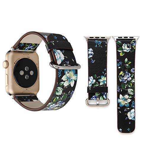 SFACN Apple Watch Series 3 + 2 + 1 38 Mm Estilo Pastoral De Moda con Diseño Floral Pequeño para Mujeres Que Miran Las Pulseras De Cuero (Color : Color3)