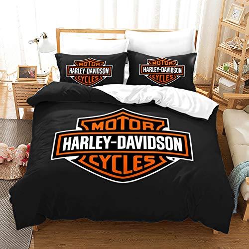 Hengqiyuan Kingsize-Bettdecken-Sets, Harley Davidson Duvet Cover-Set Mit 1 Mikrofaser-Bettbezug Und 1/2 Kissenbezüge Mit Reißverschlüssen,Style 2,264x228cm