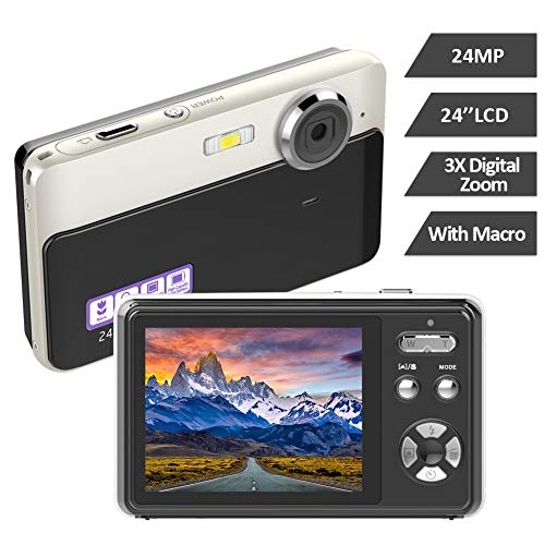 Digitalkamera 24MP Kamera 2,4-Zoll-TFT-LCD 3X Digitalzoom-Fotoapparat Videokamera Vlogging Kamera Kompakte und Tragbare Selfie-Kamera Mehrere Filter