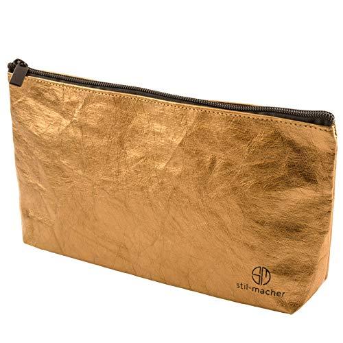 stil-macher Designer Kosmetiktasche Gold - Gr. M - 25,5x14,5x5cm| Schminktasche | Kleiner Kulturbeutel | Makeup-Tasche | Federmäppchen | Waschbares Papier in Lederoptik | VEGAN | Reißfest