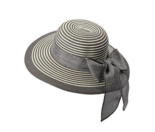 Miuno Miuno® Damen weich Sonnenhut Partyhut Stroh Hut Schleife H51065 (grau)