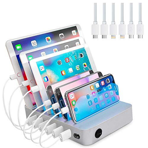 USB Charging Station Dock, 6-Port Charging Stand Organizer with 6 Short Charging Cables for iPhone iPad Android Cell Phone Kindle and Tablets