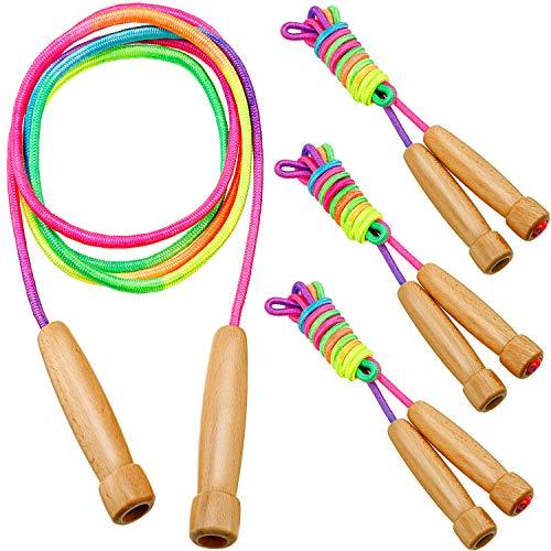 Gejoy 4 Packungen Regenbogen Springseile Kinder Baumwolle Springseile 8 Fuß Verstellbares Seil mit Holzgriff für Spaß Fitness Übung Training Outdoor Aktivität Party Favors