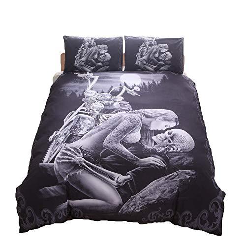 Bedding Set Bedding Sets dekbedovertrek 3-delig pak Ghost Head Skull Darkness G-un Black Cotton 1 dekbedovertrek 2 kussenslopen Quilt Set (Color : 2, Size : 200 * 230)