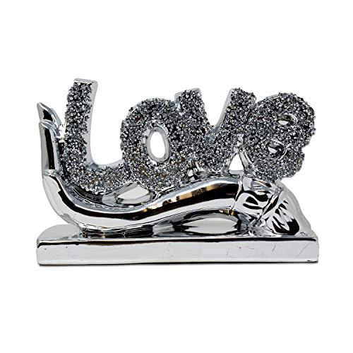 Silver LOVE Ornament Bling Crushed Diamond Gift   LOVE Letter character  Handmade Craft   Crushed Diamond Display   Wedding Anniversary, Birthday Present, LOVE Decor