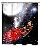 CHUN YI Impermeable Cortinas de baño, Feliz Navidad Decoración Cortina de Ducha para baño, con 12 Agujeros de plástico cosidos (Negro)