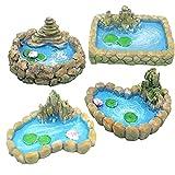 Hemore Adornos de Estanque de jardín de Hadas en Miniatura Resina Paisaje Aquarium Decoración Accesorios