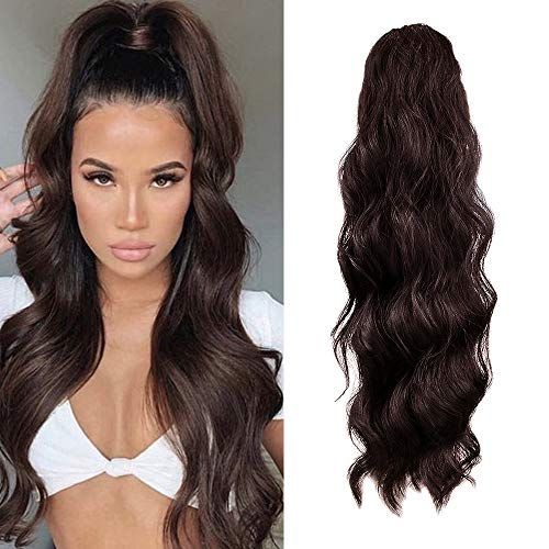 KETHBE 24 Inch Long Body Wave Ponytail hair Extension Synthetic Heat Resistant Wrap Around Drawstring Curly Wavy Ponytail Hairpieces for Women (4#)