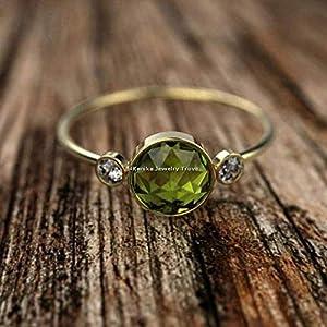 August Geburtsstein Ringe-Grüne Edelsteinringe-Rundeschliff Peridot, Cz Ringe-925 Sterling Silber Ringe für Damen-18…
