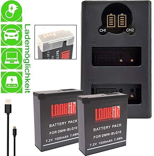2X LOOKit Premium Akku BLG10- echte 1025mAh + LOOKit Dual USB LCD Ladegerät für Panasonic Lumix DC TZ202 GX9 TZ96 DC LX100 II - 100% dekodiert - mit Infochip