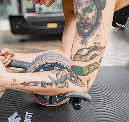 TYUXINSD Mach Dich stark Rollelrad, Bauchwalze Übungsgeräte Barbell-Bauchrad mit konkavem elastischem Kissen und großen stillen Rädern Perfekte Heim-Fitnessstudio-Übungskörper-Gebäudeausrüstung