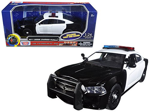 New 1:24 W/B MOTOR MAX POLICE COLLECTION - WHITE & BLACK 2011 DODGE CHARGER PURSUIT WITH LIGHTS AND SOUNDS Diecast Model Car By MOTOR MAX