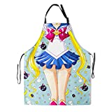 Sailor Apron Cute Kitties Moon Girl Creative Anime Character Navy Polyester Smocks with 2 Pockets Waterproof Adjustable Chef Cooking Kitchen Party Pinafore for Girl Teacher Women Men Adult 28x33 Inch