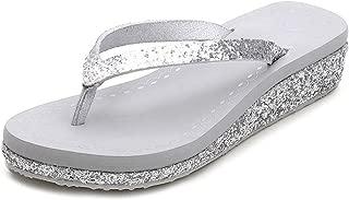 Womens Platform Low Heel Flip Flops Summer Fashion Glitter Dressy Clip Toe Thong Beach Sandals
