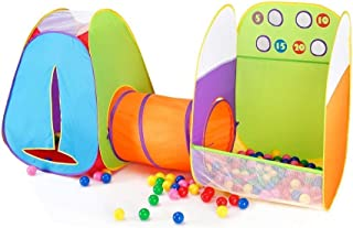 Alvantor Kids Indoor Toddler Toys Children Tent Pop up Play Tunnel Ball Pit Girls Boys Outdoor House 8021 Fun Toss It Game Zone 3-in-1(Include 4 Balls)