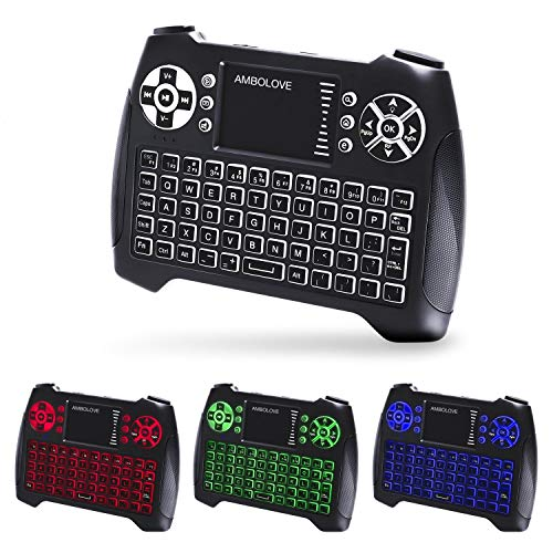 Backlit Wireless Mini Keyboard with Touchpad Mouse and Multimedia Keys, 2.4Ghz USB Rechargable Handheld Remote Control Keyboard for PC, HTPC, X-Box, Android TV Box,Smart TV (T16-RGB Backlit)