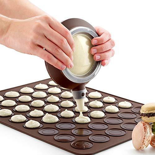 Backmatte Macarons, Backform aus Silikon, antihaftbeschichtet, für Macarons, für 48 Macarons, mit Stift und 4 Düsen für Macaron Cupcakes, Dessert