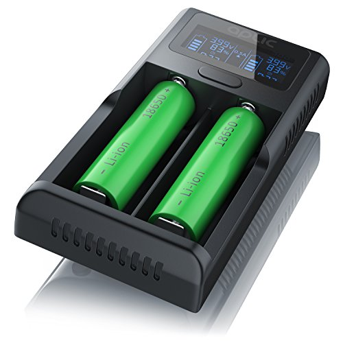 Aplic USB Lithium Akku-Ladegerät, Universale Akku Ladestation, Recharger, Mikroprozessorgesteuerte Ladetechnologie, LCD-Display, 2x500mA oder 2x1000mA - für wiederaufladbare 3,7V 3,6V Li-Ion Akkus