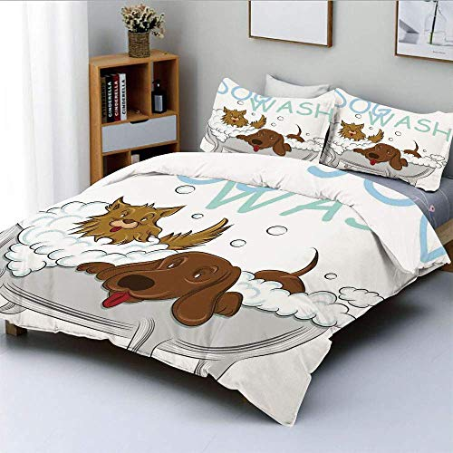 Duvet Cover Set,Playful Dogs in a Bathtub Grooming Each Other Cute Pets Theme IllustrationDecorative 3 Piece Bedding Set with 2 Pillow Sham,White Brown Blue,Best Gift for Kids Easy Care Anti