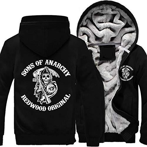 Unisexhoodie Sons of Anarchy Winter-eindickung Lösen Plus Samt-Zipper Warm Halten Sweatshirts Strickjacke Mit Kapuze Strickjacke,F-S
