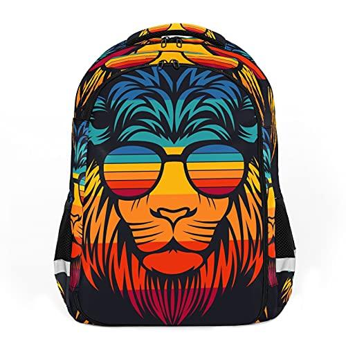 Mochilas de viaje para adultos, mochilas escolares, mochilas adecuadas para todas las edades, mochilas para niños con cabeza de león retro con gafas - Colorido animal de moda