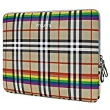 MOSISO Laptop Sleeve Compatible with 13-13.3 Inch MacBook Air/MacBook Pro Retina/2019 2018 Surface Laptop 3/2/Surface Book 2, PU Leather Super Padded Bag Waterproof Protective Case,Beige Rainbow Plaid