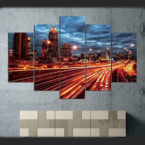 WHFDH Decoratieve kamer muurkunst 5 stuks autobaan stad architectuur licht nachtzicht schilderij poster canvas foto Hd Print 40x60 40x80 40x100cm No Frame