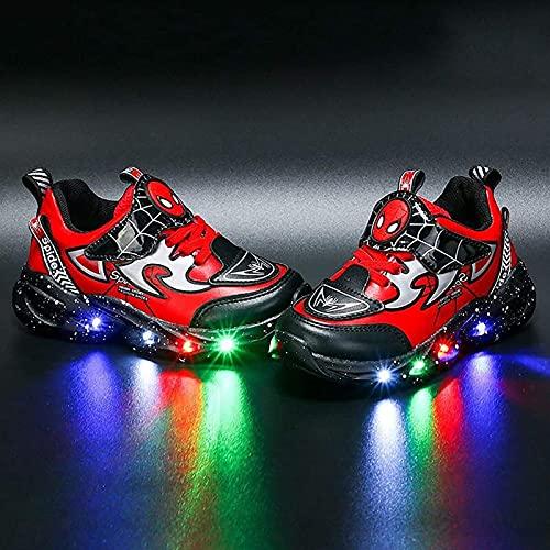 Spiderman Entrenadores, Luz LED Zapatos para niños, Easy Velcro Close Luminoso Zapatillas de Deporte Trainers Boys Girls Bebies Best Gift Cumpleaños Halloween Navidad (Color : Red, Size : 28EU)