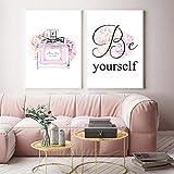 Sea usted mismo Cotizaciones Impresión de arte en lienzo Flor de rosa Perfume Póster Imagen Arte de pared de moda Pintura Carteles nórdicos Decoración de habitación de niñas / 30x40cmx2 Sin marco