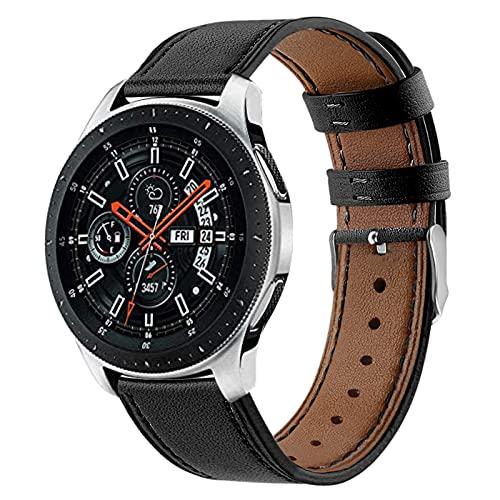 GhrKwiew Gear S3 Correa de Reloj, 22mm de Ancho Lug Correa de Cuero Genuino de Repuesto para Watch GT2 Pro/GT 46mm/Ticwatch Pro 3/ Galaxy Watch 3 45mm/ Watch 46mm (L02)