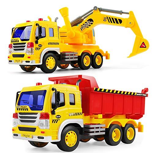 GizmoVine CamióN De FriccióN con Tractor De Excavadora,2 Piezas Juguete De ConstruccióN Push and Go para NiñOs Y NiñAs con Luces Y Sonidos