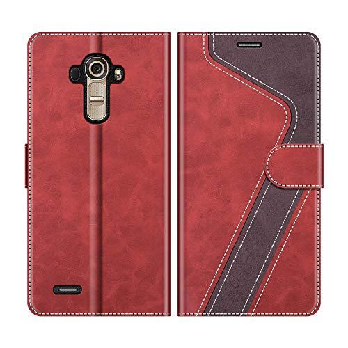 MOBESV Handyhülle für LG G4 Hülle Leder, LG G4 Klapphülle Handytasche Hülle für LG G4 Handy Hüllen, Modisch Rot