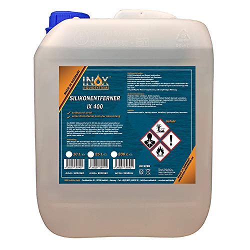 INOX® IX400 Silikonentferner, 10L - Universeller Reiniger zum Lösen und Entfernen von Silikon, Fett, Öl und Wachs