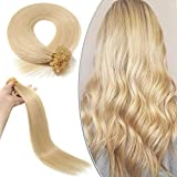 Elailite Extensiones Queratina Remy Human Hair Mehcas Cabello Humano Pelo Natural Colores [0.5g * 100 Piezas] 50g - 40CM #613 Blanqueador Rubio