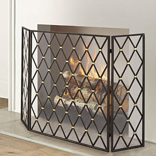 Read About HWF Large Firescreen for Gas Fires/Wood Burner, 3 Panelled Black Iron Fireplace Screen wi...