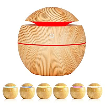Essential Oil Diffuser,Anguipie 130ML Aromatherapy Diffuser with 7 Colors Lights, Ultrasonic Essential Oil Diffuser for Home Office Room?Light Colored Wood